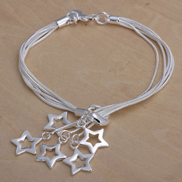 Hot sale best gift 925 silver Tai Chi hanging empty Star Bracelet DFMCH153,brand new fashion 925 sterling silver plate Chain link bracelets