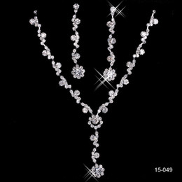 Rhinestone Bridal Jewelry Sets Earrings Necklace Crystal Bridal Prom Party Pageant Girls Wedding Accessories Free Shipping 15049