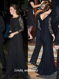 Free Shipping Kate Middleton Trumpet Mermaid Black Colour 3 4 Sleeves Lace Floor length Scoop Long Evening Dresses