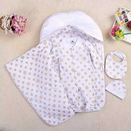 Wholesale Retail New Brand Baby s summer style cotton Five Piece Newborn Romper Blankets Hold by and Hats bibs casual Sets