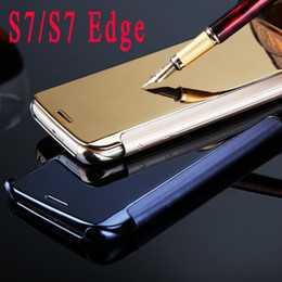 S7 S7 Edge Luxury Clear View Mirror Screen Flip Leather Case for Samsung Galaxy S7 S7 Edge Phone Bags Cover Skin