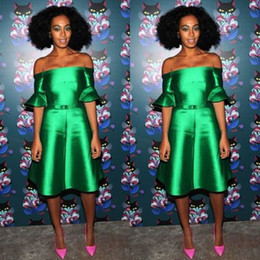 Wholesale 2016 Bright Green Dresses for Proms Off the Shoulder Bell Short Sleeves A Line Short Celebrity Evening Dresses Cocktail Dresses