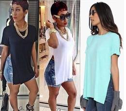 Maikun European and American Fashion Sexy High Slit T-Shirt Casual Loose Split Short Sleeve T-shirt for female