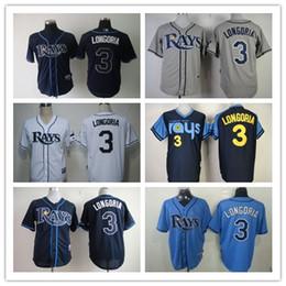 Wholesale Rays Baseball Jerseys Men LONGORIA white Grey black baby Black Blue Jerseys stitched Top quality Mix Order Free Fast Shipping
