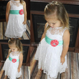 Cheap Ankle Length Flower Girls' Dresses For Weddings Little Baby Infant Communion Dresses Multi Color White Mint and Coral Beaded Gown