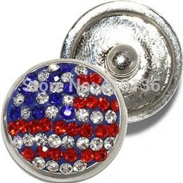 NSB1317 Hot Sale Snap Jewelry Button For Bracelet Necklace Fashion DIY Jewelry Crystal Snaps National Flags Buttons