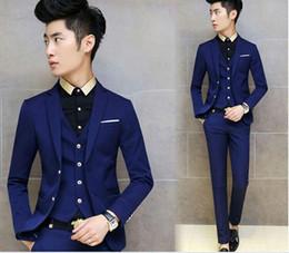 New Arrivals Two Buttons Royal Blue Groom Tuxedos Notch Lapel Groomsmen Men Wedding Tuxedos Dinner Prom Suits (Jack(Jacket+Pants+Vest) q197