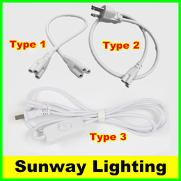 Wholesale T8 T5 connector wires ft ft ft ft ft power cords with switch US EU AU Plug for integrated led tube lights