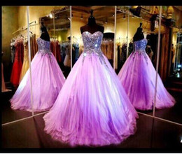2016 Light Purple Bling Prom Dresses Sexy Strapless Sequin Crystals Ball Gown Full Length Formal Evening Gowns Evening Dresses Prom Gowns