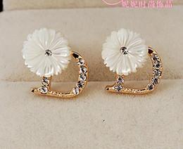 shell flower D letter 925 silver lady's earings (nnsssp)