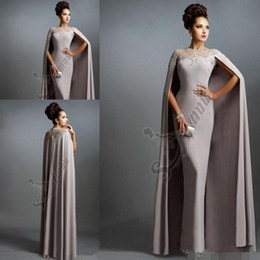 Wholesale Sexy Formal Evening Dresses Elie Saab Gray With Cape Ruffles Lace Edged Cheap Long Sheer Prom Party Gowns Evening Wear Dress