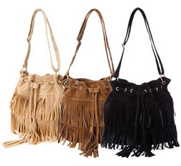 Wholesale New Style Women Fringe Retro Tassel Drawstring Shoulder Bag Crossbody Bag Messenger Vintage Handbag Colors