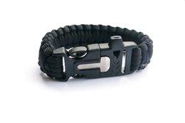 Black Paracord Bracelet Outdoor Camping Flint Fire Starter Scraper Whistle Gear Survival Paracord Bracelet Rope Self-rescue Kit 4 in 1