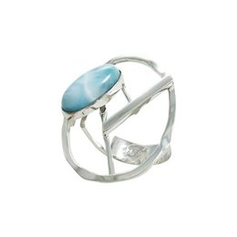 Solitaire ring with special Larimar stone for women in unique design sterling silver jewelry for R8007L