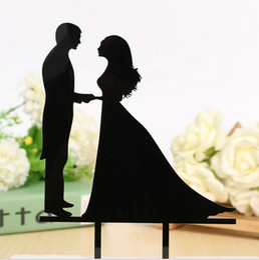 Wholesale Black Acylic Engaged Cake Topper Bride Groom Mr Mrs Cake Topper Love Wedding Cake Ideas Cake Top Wedding Supplies New