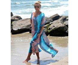 NEW! Fashion Women Beach Dress Summer Chiffon Long Blue Beach Dress Women Side Split Boho Dress Womens Clothing 9324