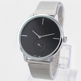 2017 Vestido de Moda Reloj de Cuarzo Hombre / Mujeres Reloj de Acero de Acero de Plata de Lujo de Acero Inoxidable Reloj de pulsera Vestido de Señora envío gratis