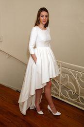 Modest 2016 High Low Wedding Dresses With 3 4 Long Sleeves Jewel Neck Short Front Long Back Simple Designer Delphine Manivet Bridal Gowns