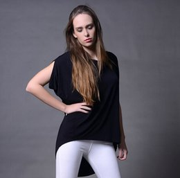 Senhoras jumpers casuais On-line-2016 Summer Women's Modal Casual Tees Moda Lady Jumper Tops Loose T-shirts Ruffle Manga tee roupa das mulheres
