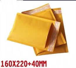 Kraft enveloppe jaune à vendre-Jaquette jaune kraft enveloppes enveloppées rembourrées articles fragiles enveloppes porte-lettres sacs 160 * 220 + 40mm 50pcs / lot