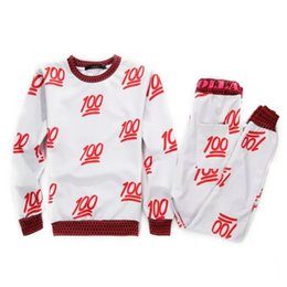 New Red 100 emoji printed cute cartoon sweat suit tracksuit for men women girl boy joggers&hoodies set outfit cloth red&white