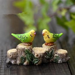 Wholesale artificial birds parrots animals ornaments miniatures for fairy garden gnome resin crafts bonsai bottle garden decoration