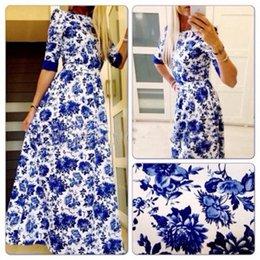 Wholesale EBay hot evening dress Dress Chiffon printed thin long sleeved dress up temperament swing sale