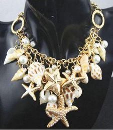 Wholesale retail Fashion White Pearl Gold Stone Chunky Bib Pendant Chain Jewelry Necklace