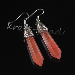 Wholesale 10Pcs Charm Silver Natural Watermelon Red Quartz Crystal Stone Faceted Hexagon Column Dangle Hook Earring Women Eardrop Jewelry