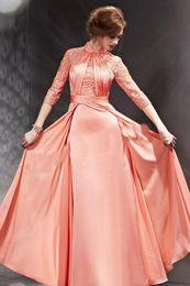 Prom Dresses Long dress Lace Pleats High Neck Half Sleeves Evening Dress Long Party Dress Custom Made Plus Size 2016
