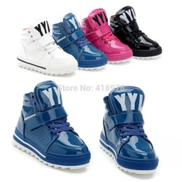 Free shipping 2013 male Sneakers high shoes child girls patent leather sport cotton-padded casual single shoes waterproof boots