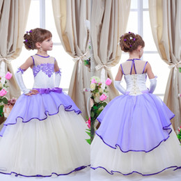 2016 Romantic Purple Lavender Lilac Flower Girl Dresses for Weddings Jewel Neck Tulle Floor Length Lace Appliqued Kids Wedding Dresses