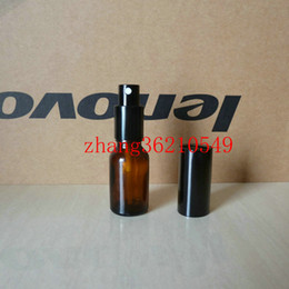 15ml brown amber Glass perfume Bottle With aluminum shiny black mist sprayer. perfume atomizer bottle container