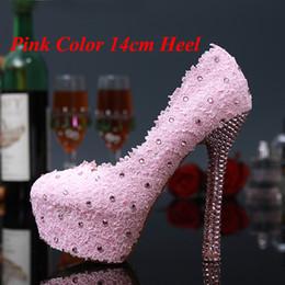 Promotion taille 34 talon rose Doux rose et rouge en dentelle fleurs chaussures de mariée Robe de mariage strass Talons Mesdames chaussures d'été Pluse taille 34 - 43