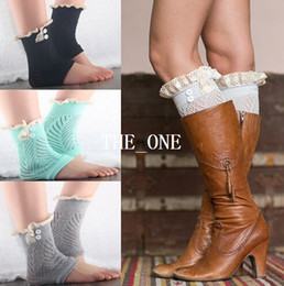 Wholesale Button Down short leg warmers boot cuffs knit lace shark tank leg warmers boot cuffs boot toppers for women winter warm boot socks in stock
