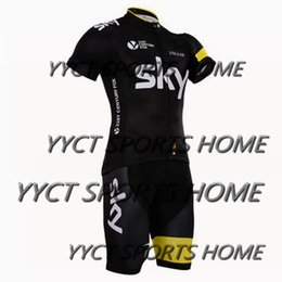 Wholesale New arrive yellow sky Pro team Cycling Jersey Bib Short Pants With Gel Pad Ropa de Ciclismo Maillot Bike Wear Cycling Clothing Set