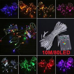 Descuento luces de hadas blancas con pilas 3xAA batería 10m 80 LED String Mini luces de hadas de energía con pilas Blanco / / azul / rojo / amarillo / verde / rosa / multicolor Purply / Blanco caliente DHL