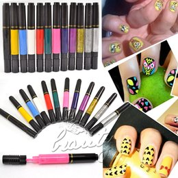 Wholesale-2015 High Quality 12 Colors Nail Polish Design Pro Nail Art Pen Painting Paint Drawing Pen Nail Art Design Varnish Polish
