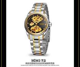 Wholesale BOSCK Automatic mechanical watch Hollow out men watch fashion man business pointer stainless steel tables gold machine watches waterproof