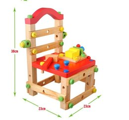 Wholesale Multi function Removable Wooden Chair Creative Building Blocks Wooden Toys Baby Color Educational Assembly Stool Kids Toys and Games