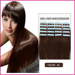 16 18 20 22 24inch Tape in Human Hair Extensions #4 Dark Brown 30-70g 20pcs Set Brazilian virgin Skin Weft Hair Extension