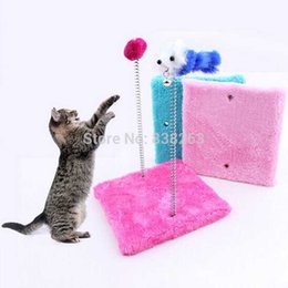 Wholesale Cat Wood Flannelette Square sharped board Climbing frame Scratching with cut mouse Pet funny toys Muliti colors Cat toys