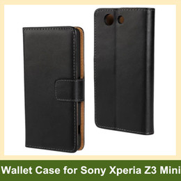 Wholesale New Arrive Genuine Leather Wallet Flip Cover Case for Sony Xperia Z3 Mini Z3 Compact M55w with Stand Holder Free Shipping
