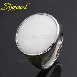 010 Anniversary Party Gift 18K White Gold Plated Round Shell Stone White Ring For Men Women