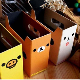 Wholesale New Paper Desk Storage Box Organizer Pencil Pen Ruler Stationery Holder Office Collection Cute Bear Pattern