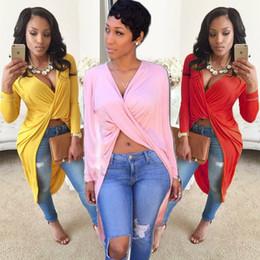 Camisas novas do partido à venda-New 2016 Primavera Verão Mulheres Vestidos 6 cores V Pescoço manga comprida assimétrica Hi Lo Party vestidos camisa Mulheres Roupas D022