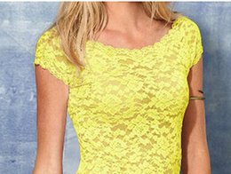 Sexy Floral Full Lace Short Sleeve Tee Shirt Stretch Scoopneck Blouse Top Cute low price good quality