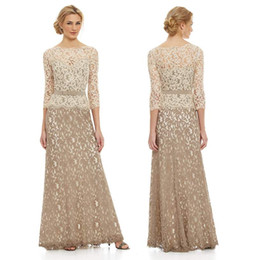 Charming Champagne Mother of the Bride Dresses With 3 4Long Sleeve A-Line Crew Ruffled Sheer Lace Back Pleated Evening Formal Gowns