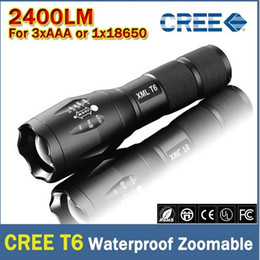 Ultrafire XM-L T6 2400Lumens cree led Torch Zoomable cree LED Flashlight Torch light For 3xAAA or 1x18650 Free shipping