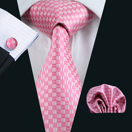 Wedding Pink Mens Silk Necktie Hanky Cufflinks Set Jacquard Woven Business Formal Casual Meeting Work N-0448